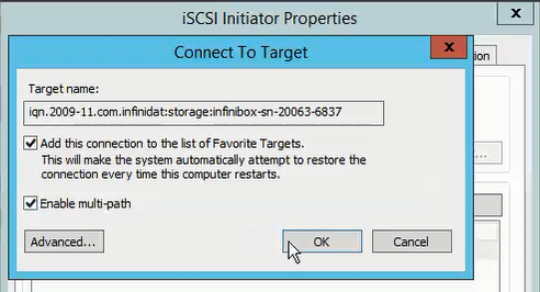 Connecting an iSCSI software initiator to InfiniBox volumes